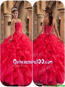Traditional Beading and Ruffles Quinceanera Dresses in Coral Red
