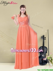 Fall Lovely Straps Floor Length Dama Dresses for Quinceanera with Ruching and Belt