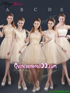 Discount Short Bridesmaid Dresses with Appliques and Belt