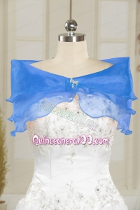 Beading Organza Blue Shawls for Wedding Party
