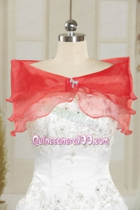 Red Organza Beading Orange Shawls for Wedding