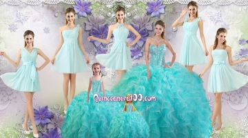 Perfect Beaded Aqua Blue Quinceanera Dresses and Light Blue Dama Dresses and Lovely Straps Mini Quinceanera Dresses
