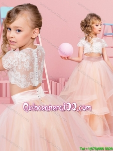 Popular Two Piece Short Sleeves Little Girl Pageant Dress with Ruffles and Lace