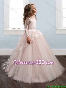 Beautiful See Through Long Sleeves Laced Little Girl Pageant Dress with Brush Train