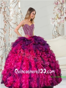 Detachable Multi-color Sweet 16 Dresses with Beading and Ruffles for 2015
