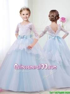 Affordable Scoop Half Sleeves Little Girl Pageant Dress with Lace and Bowknot