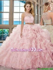 Fashionable Ball Gown Scoop Brush Train Baby Pink Two Piece Quinceanera Dresses with Beading and Ruffles
