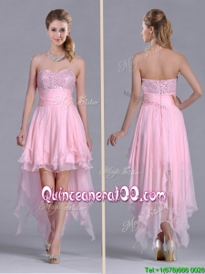 New Arrivals Beaded Bust High Low Chiffon Dama Dress in Baby Pink