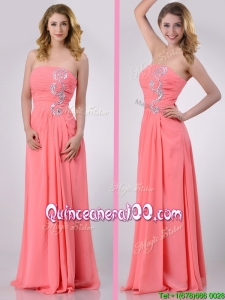 2016 Watermelon Empire Strapless Chiffon Beading Long Dama Dress for Graduation