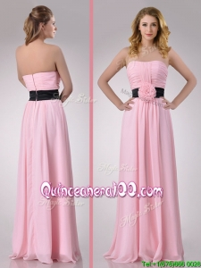 Modern Empire Chiffon Pink Long Dama Dress with Hand Crafted Flower