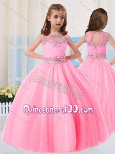 Beautiful Ball Gowns Scoop Short Sleeves Little Girl Pageant Dress in Baby Pink