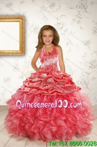 Exquisite Appliques and Ruffles Coral Red Flower Girl Dress for 2015 Spring