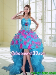 2015 High Low Strapless Ruffled Dama Dresses with Hand Made Flower