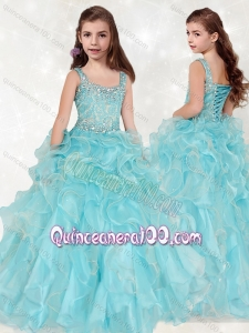Lovely Beaded and Ruffled Big Puffy Mini Quinceanera Dress with Straps