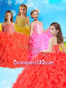 Gorgeous Beaded and Ruffled Mini Quinceanera Dress with Halter Top