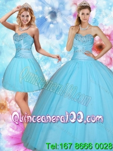 2015 Discount Sweetheart Beaded Spring Quinceanera Dresses in Baby Blue