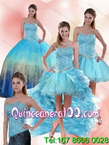 Multi Color Sweetheart Spring Quinceanera Dresses with Ruffles and Beading