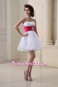 A-line Strapless Beading and Ruching Organza White Dama Dress for Quinceaneras