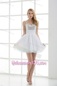A-line Straps White Sleeveless Beading and Ruching Dresses for Dama
