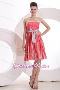 Empire Sashes and Pleats Strapless Watermelon Red Dama Dress for Quinceanera