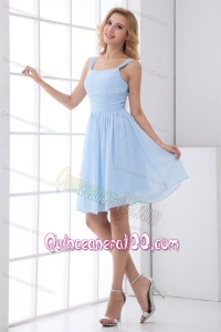 Simple Empire Straps Knee-length Chiffon Light Blue Dresses for Dama