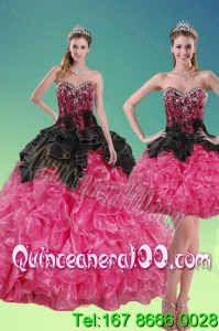 2015 New Style Beading and Ruffles Spring Quinceanera Dresses in Multi Color