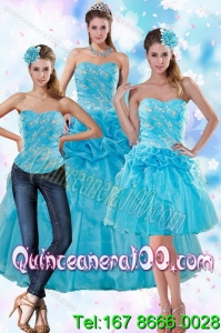 2015 Sophisticated Teal Spring Quinceanera Dresses with Embroidery and Pick Ups