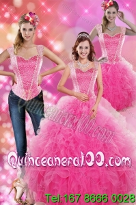 Decent Hot Pink 2015 Spring Quinceanera Dresses with Beading and Ruffles
