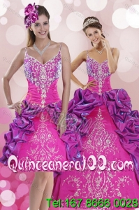 Multi Color Sweep Train 2015 Spring Quinceanera Dresses with Pick Ups and Embroidery