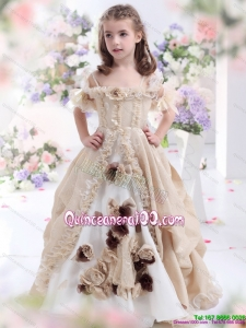 Champagne Spaghetti Straps 2015 Kid Pageant Dress with Hand Made Flowers and Ruffles