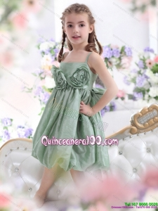 Unique Spaghetti Straps 2015 Kid Pageant Dress with Waistband and Hand Made Flower
