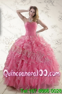 2015 Luxurious Rose Pink Quince Dresses with Paillette and Ruffles