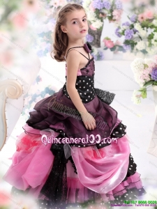 Multi Color Ruffled 2015 Kid Pageant Dress with Bowknot and Hand Made Flower