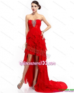 Cheap High Low Ruffled Layers Beading Red Dama Dresses for 2015