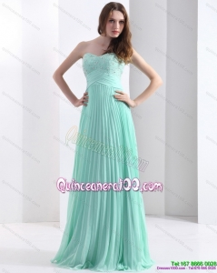 2015 Brush Train Apple Green Dama Dress with Beading and Pleats