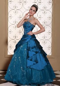 Custom Made Strapless Embroidery Quinceanera Dress with Overskirt