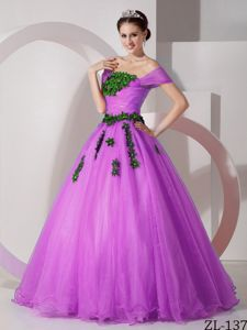 Princess Off the Shoulder Prom Dress with Appliques in Organza
