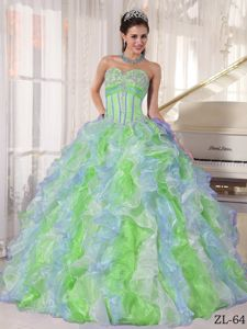 Multi-color Sweetheart Sweet 15th Dress with Ruffles and Appliques