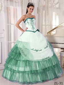 Ball Gown Dress Quinces with Embroidery in White and Turquoise