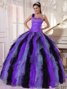 Multi-colored Ruffled Sweet 15th Dress with One Shoulder Strap
