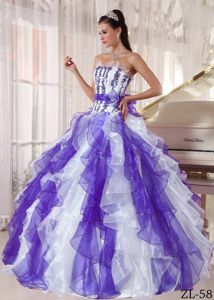 Colorful Strapless Quinceanera Gown with Beading and Ruffles