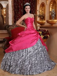 Zebra Beaded Hot Pink Sweetheart Beaded Quinceanera Dress