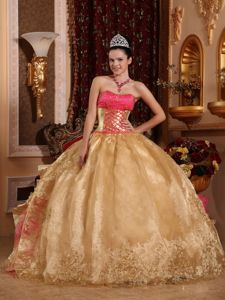 Gold Weave Quinceanera Dress with Embroidery and Ruffles