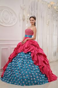 Taffeta Beaded Red and Blue Floral Sweet 15 Dresses Sashed