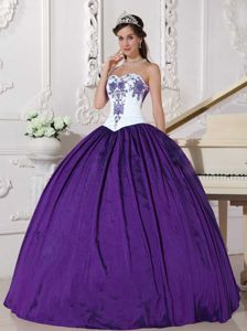 White and Eggplant Purple Quince Dresses with Embroidery