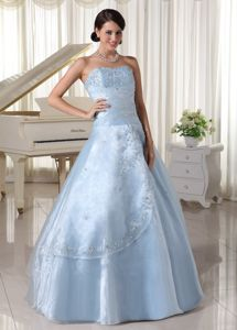 A-line Sweetheart Embroidery and Beading Baby Blue Sweet 15 Dresses