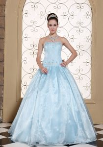 Quinceanera Dress Strapless with Embroidery and Beading in Baby Blue