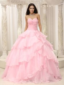 Ruching Sweetheart Baby Pink Quinceanera Dress with Layered Ruffles