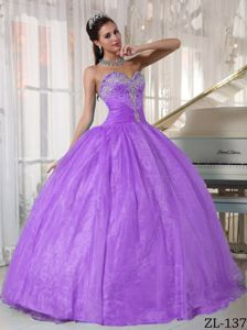 Lilac Sweetheart Ball Gown Sweet 16 Dresses with Appliques
