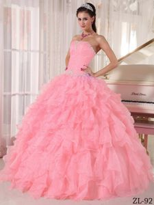 Beading Strapless Floor-length Pink Quinceanera Dress with Ruffles